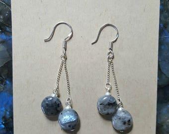 Larvikite Silver Earrings