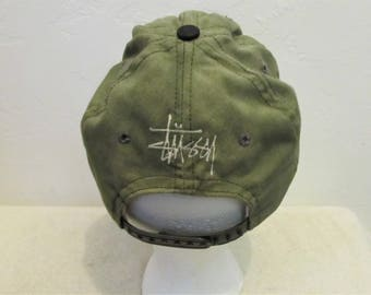 A GRUNGED Vintage 90's Green Cap By STUSSY Capz.OS