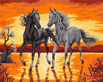 Horses in the Sunset Vintage French Needlepoint Tapestry 'Galloping Horses in the Sunset' (6578s)