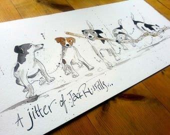 A Jitter of Jack Russells Original Sketch Ink