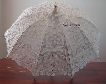 Ivory Battenburg Lace Parasol