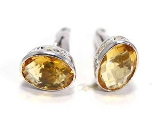 Handmade Golden Topaz  925 Sterling Silver Mens Cufflinks Jewelery by Amore India C338