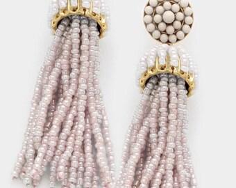 Beaded Tassel Earrings (Taupe)