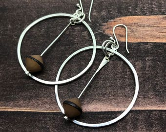 Sterling Silver Hoop with Buri Nut, Large Hoop Earrings