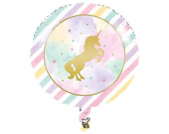 Unicorn Balloon - Unicorn Party Supplies - Unicorn Birthday - Unicorn Balloons - Unicorn Party Decorations - Mylar Balloon - Pastel Unicorn