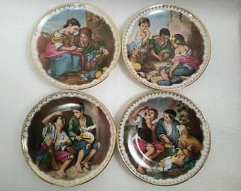 Set of 4 Vintage Western Germany J.K.W. Decorative Wall Plates