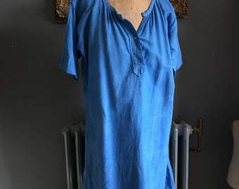 Antique French linen cotton metis ladies smock chemise nightdress dyed Blue size 44 inch chest