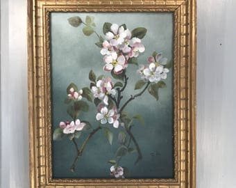 Antique framed oil painting study of cherry blossom signed BA 1903