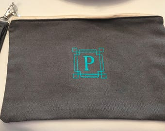 Monogrammed wristlet pouch