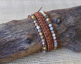 Woven Leather Wrap Bracelet with Agate/Beaded Leather Wrap/Sundance Style/Gemini Woman/Virgo Woman/Healing Bracelet/Boho Chic/Gift for Her