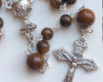 Handmade Catholic Rosary, Eucharistic, First Holy Communion, Tigers Eye Ave and Pater Beads, Chalice and Host, Free Ship USA