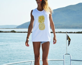 New White Long Top with Pineapple, Extravagant Gold Print T-shirt, Casual Oversize Top, Sleeveless Top by SSDfashion