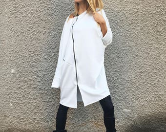 Oversize Neoprene Long Sweatshirt, White Maxi Sleeves Coat, Extravagant Casual Jacket, Asymmetric Zipper Jacket by SSDfashion