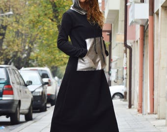 Black Maxi Warm Dress, Oversized Front Pocket Dress, Extravagant Hooded Dress, Casual Winter Dress by SSDfashion