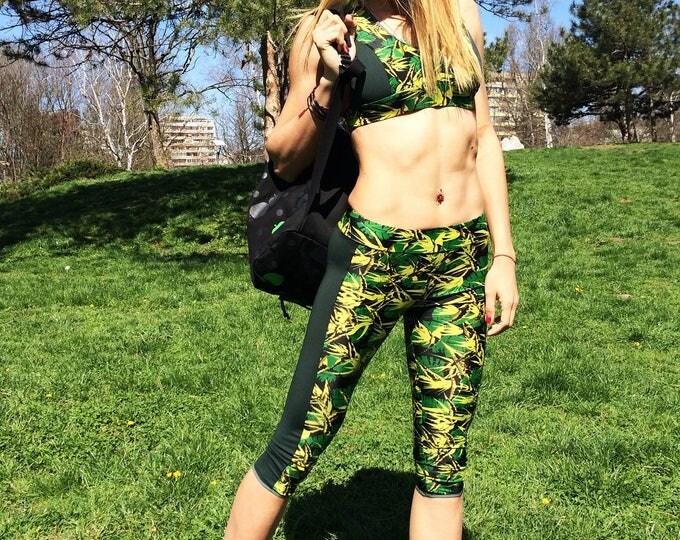 Woman Running Set, Workout Leggings Top Bra, Sports Wear, Stretch Yoga Pants, Casual Tight Bra by SSDfashion