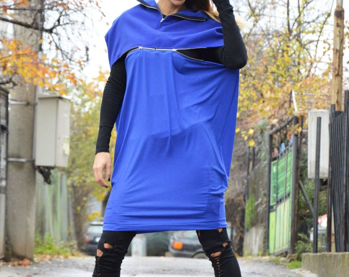 Extravagant Blue Wool Maxi Tunic With Zipper, Plus Size Casual Dress, Comfortable Woman Loose Top by SSDfashion