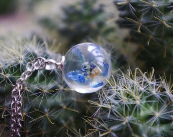 sphere necklace sphere resin resin pendant resin jewelry resin sphere pendant ball blue pendant nature pendant resin flower jewelry floral