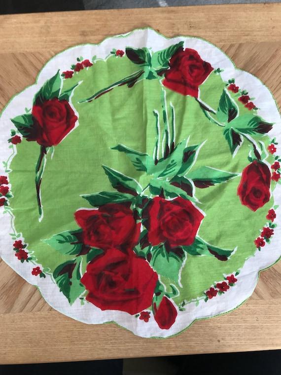 Vintage Floral Round Handerkercheif