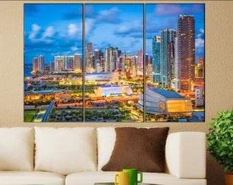 Miami canvas wall art art  large  black white canvas wall art print Miami, Florida City Cityscape skyline City Office Decor