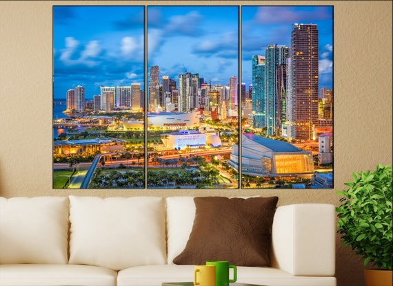Miami canvas wall art art  large  black white canvas wall art print Miami, Florida City Cityscape skyline City Office Decor