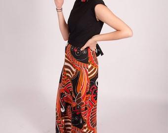 Vintage 1970s orange and black paisley maxi dress