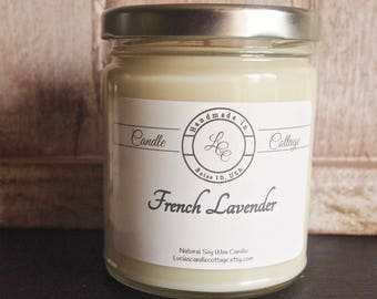 Organic Soy Candle- French Lavender- Pure Essential Oil Candle- Aromatheraphy Candle- Relaxing Candle- Organic Gifts- Holiday Gifts