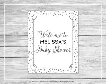 White and Silver Baby Shower Welcome Sign - Printable Baby Shower Welcome Sign - White and Silver Confetti Baby Shower - EDITABLE - SP154