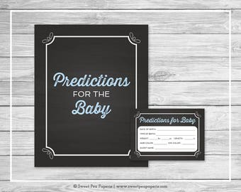 Chalkboard Baby Shower Predictions for Baby - Printable Baby Shower Predictions for Baby - Blue Chalkboard Baby Shower - Predictions - SP156