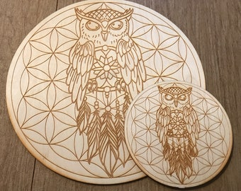 Owl Dreamcatcher Flower of Life Crystal Grid - 6 or 12 Inches - Birch Wood - Animal Spirit - Totem
