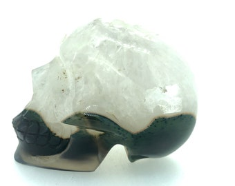 Agate and Quartz  Carved Crystal Skull - Realistic - Crystal Healing - Druzy