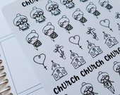Cora - Church | mid size monochrome character / action | Planner stickers