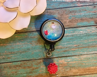 The Girl and The Tulip-Nurse Retractable ID Badge Reel/ RN Badge Holder/Doctor Badge Reel/Nurse Badge Holder/Nursing Student Gifts