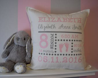 Birth Announcement Pillow, Personalized Baby Gifts, Nursery Decor, Birth Stats Pillow, Birth Announcement, Baby Pillow, Newborn Gift