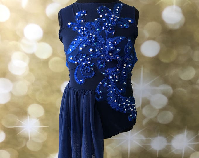 Custom dance costume, stones,Lyrical dance costume or contemporary dance costume, lyrical Dance Costume,ruby blue  dance costume