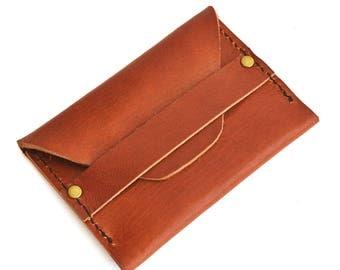 Leather Flap Wallet Front Pocket Wallet Leather Flap Card Wallet Handmade Minimalist Wallet