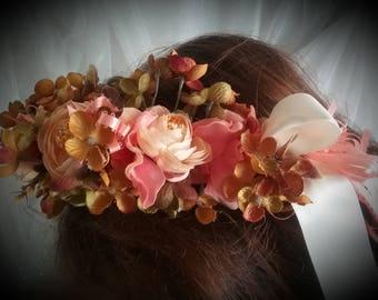 Autumn Flower Crown, wedding Crown, Bridal Crown,Bridesmaid Crowm, Flower Girl Crown,Orange Flower Crown, Fall Crown, Autumn Floral Wreath