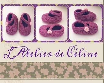 Ballerinas - 1 month baby booties crochet baby booties