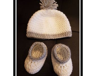 All baby bonnet and booties crochet - birth or birth gift - baby up to 3 months