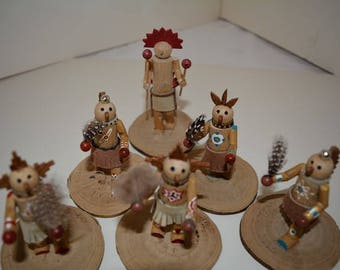 Group of 6 miniture katchina dolls