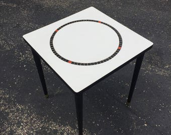 Reclaimed Mosaic Inlay End Table Mid Century Modern