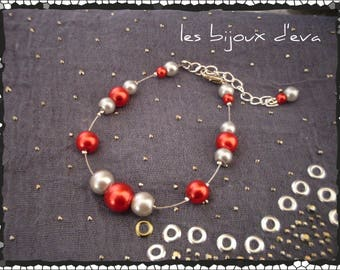 Pretty Pearly beads Wire Bracelet red and gray