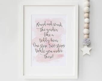 Nursery rhyme print - Watercolour nursery prints -nursery quote prints -watercolour wall art - nursery quotes - modern nursery art - nursery