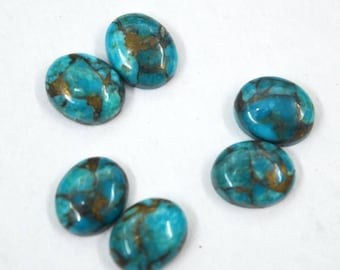 Wholesale Lot Of 6 pcs. Natural Blue Copper Turquoise 8X10 mm Oval Shape Loose Gemstone Cabochon