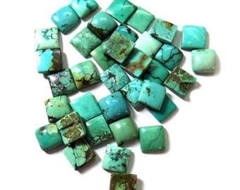 10-P Wholesale Lot Of Natural Turquoise square Shape Loose Gemstone Cabochon