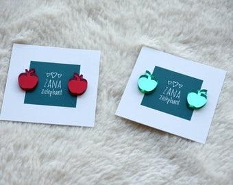 Red green mirroring apple stud earrings
