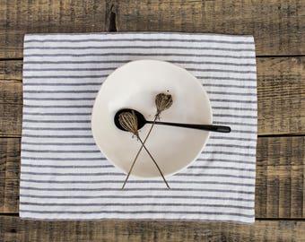 Linen placemats, Striped placemats, Scandinavian minimalist style, Reversible mats, Gray stripes,  Modern  farmhouse