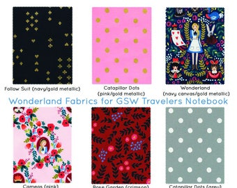 Alice in Wonderland Fauxdori Rifle Paper Co Travelers Notebook Alice Midori Fabric Fauxdori Bullet Journal Cover Planner Notebook ALICE