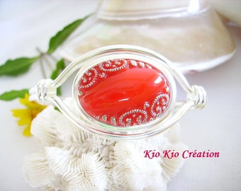 Bracelet, Bangle, original, oval, silver 10 microns, oval glass cabochon, red, open, ring adjustable jewelry fashion women, gift idea