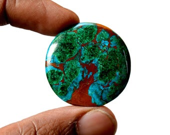Chrysocolla 51.5 Cts AAA Quality Natural Gemstone Attractive Designer Round Shape Cabochon 31x31x5.5 MM R14104