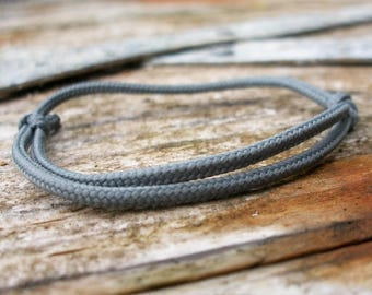 Surfer bracelet, grey uni 2.5 mm, fine Ribbon for small wrists, sailors surfer bracelet, cord climbing rope rope knots, nautical